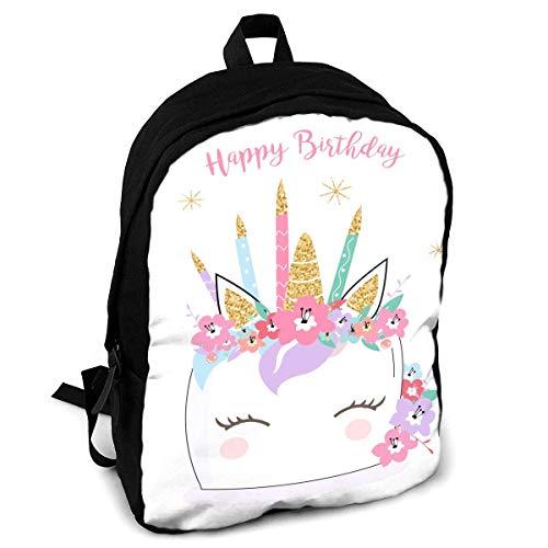 Happy Birthday Einhorn Pastel Mode Druck Rucksack für Erwachsene Reisen Wandern Rucksack