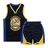 Basketball-Trikots Set für Kinder - Warriors Curry#30 Basketball-Shirt Weste Top Sommershorts für Jungen und Mädchen (Saphirblau - Warriors Curry #30, 2XL)