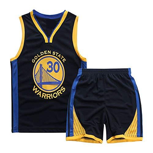 Basketball-Trikots Set für Kinder - Warriors Curry#30 Basketball-Shirt Weste Top Sommershorts für Jungen und Mädchen (Saphirblau - Warriors Curry #30, 2XL)