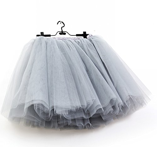 SCFL Donna Tutu Gonna Petticoat Underskirt Balletto Gonna Slip Half Grigio