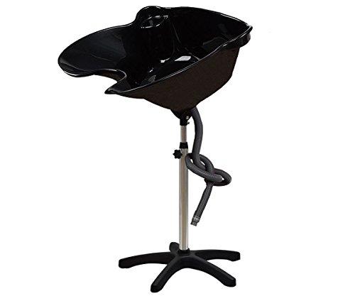 Haarwaschbecken Waschbecken Rückwärtswaschbecken Haarwaschwanne Friseur Mobiles für Waschsessel Höhenverstellbar Schwarz.