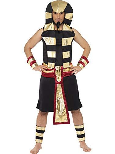 Halloweenia - Herren Männer ägyptischer Pharao Kostüm mit Rock, Kopfschmuck, Gürtel, Arm- und Beinmanschetten, perfekt für Karneval, Fasching und Fastnacht, M, Schwarz (Pharao Kopfschmuck Kostüm)