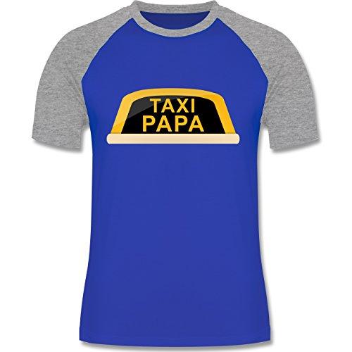 Vatertag - Taxi Papa - zweifarbiges Baseballshirt für Männer Royalblau/Grau  meliert