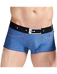 Blue Denim-Effect Mens Tight Boxer Trunks Underwear with Studs