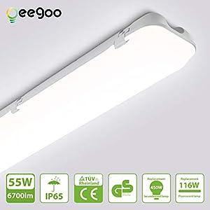 Oeegoo 55W LED Feuchtraumleuchte 150CM, led Röhre 6700LM (120Lm/W), IP65 Wasserdicht Wannenleuchte Werkstattleuchte Nassraumleuchte Garagenlampe Bürodeckenleuchte, Neutralweiß 4000K