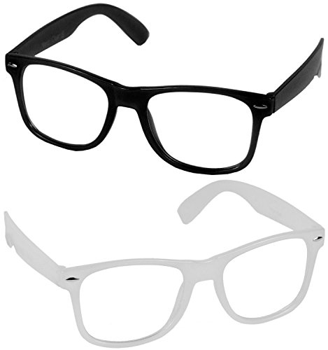 Nerd Clear CLUB Nerdbrille 2 Stück 1x Weiss leuchtend 1 x (Frauen Für Nerd Kostüm)