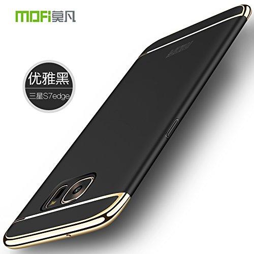 Samsung Galaxy S7 Edge Hülle - Meimeiwu Elektroplattierter Kappen mit einer Matter Oberfläche 3-Teilige Styliche Extra Dünne Harte Schutzhülle Case für Samsung Galaxy S7 Edge - Rot Schwarz