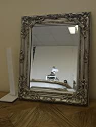 Shabby Chic Mirror Vintage SILVER Wall Mirror Bevel Edge With Silver Coloured Frame SN1985