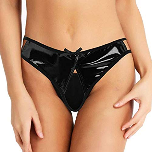 Storerine Cuir Lingerie Sexy Erotique Femme Coquine Culotte Ouverte Cuir Culotte Creux en Dehors Slips sous-Vêtements Nuisettes Femmes Clubwear Grande Taille S-4XL