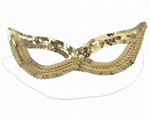 chinkyboo Mode Pailletten Sexy Damen Katze Auge Maske Kostüm für Masquerade Party, Farbe: schwarz, silber, gold, rot gold