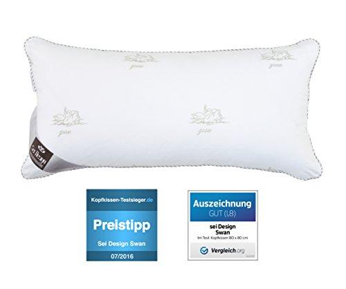 SeiDesign Mikrofaser Kopfkissen in Premium Qualität mit daunenähnlicher Füllstruktur, für Allergiker empfohlen, (perlweiß SWAN, 40x80cm)