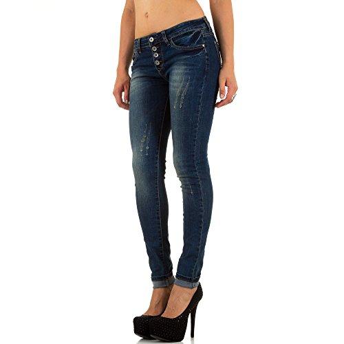 Damen Jeans Hose Used Look Hüfthose Jeanshose Hüftjeans Röhrenhose Skinny Slim Fit Dunkelblau Blau
