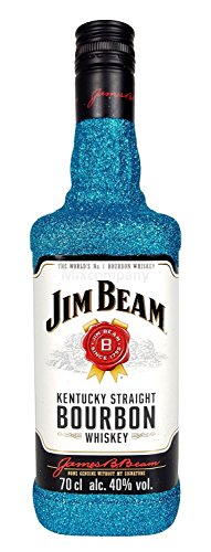 Jim Beam Bourbon Whiskey 70cl (40% Vol) Bling Bling Glitzerflasche in blau -[Enthält Sulfite]