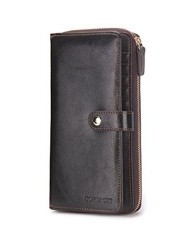 Contacts Echtes Leder Bifold Karte Münzen Geldbörse Telefon Clutch lange Reißverschluss Brieftasche dunklen Kaffee (Inhaber Scheckheft Brieftasche)
