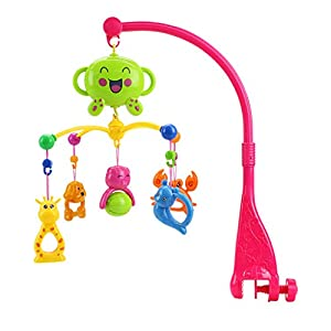 BUKUNIE Take-Along Mobile, Baby Mobile and Stroller Activity Toy with Music, Cartoon Infant Learning Toy Rattle Suitable from Birth, 0+ Months, 5 Melodies