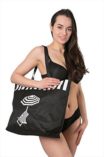 Canvas Beach Bag, features deckchair and parasol (Black)