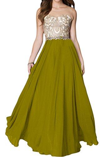 Ivydressing Damen Hochwertig Spitze Applikation Rundkragen A-Linie Lang Promkleid Partykleid Abendkleid Olivgruen