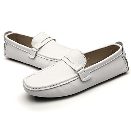Baymate Antidérapant Mocassines Homme Plats Loafers Chaussures de Conduite Blanc