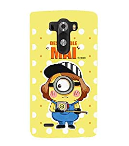 LG G3 :: LG G3 Dual LTE :: LG G3 D855 D850 D851 D852 despicable mai, good quates, big eye cartoon, yellow background Designer Printed High Quality Smooth hard plastic Protective Mobile Case Back Pouch Cover by Paresha