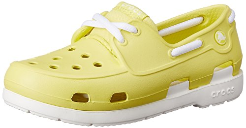 Beach Boat Schuhe (crocs Kids Beach Line Lace Up Boat Shoes, Chartreuse/White, US 13 Little Kid)