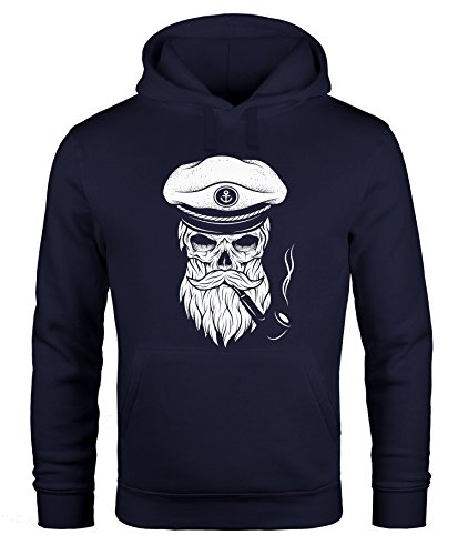 Hoodie Herren Sweatshirt Totenkopf Kapitän Captain Skull Bard Hipster Original Spirit Seemann Neverless® navy M (Hoodie Bier)