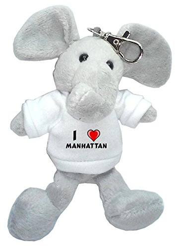 Elephant Plush Keychain with I Love Manhattan (first name/surname/nickname)