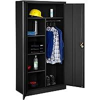 tectake 402940 Armario Archivador, Cierre de Seguridad y 6 Compartimientos, Barra Ropero, ideal para Oficina Taller, Negro