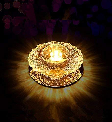 YHEGV ThreeColor LED Kristall Strahler Downlight K9 Kristall Hase Lichter Loch Lampen Wohnzimmer Deckenleuchten Ganglichter Korridor Exters Off Licht Schatten 100 * 50 MM, warmes Licht