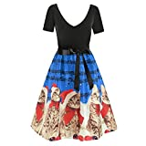 VEMOW Damen Elegantes Cocktailkleid Abendkleid Damen Mode Sleeveless Christmas Cats Musical Notes Print Beiläufig Täglich Vintage Flare Dress(X2-Blau, EU-38/CN-M)