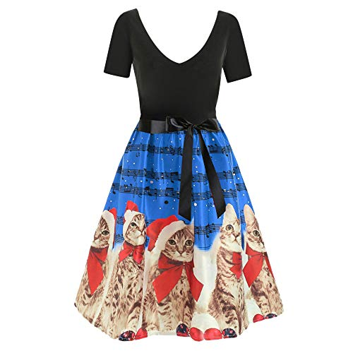 f87e6905c854 VEMOW Damen Elegantes Cocktailkleid Abendkleid Damen Mode Sleeveless  Christmas Cats Musical Notes Print Beiläufig Täglich Vintage Flare Dress(X2-Blau,  ...