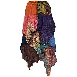Little Kathmandu 3capas asimétrico dobladillo elástico de la cintura falda multicolor A Talla única
