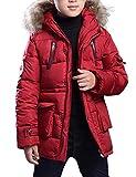 Belloo Jungen Mantel Winter Parka Lange Winterjacke Steppjacke Übergangsjacke mit Kapuze,Rot 158/164
