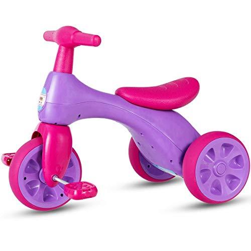 COSTWAY Triciclo Bicicletta per Bambini, Giocattolo Bike Equilibrio, in HDPE e PP ecologici, Vari Colori Disponibili (Rosa)