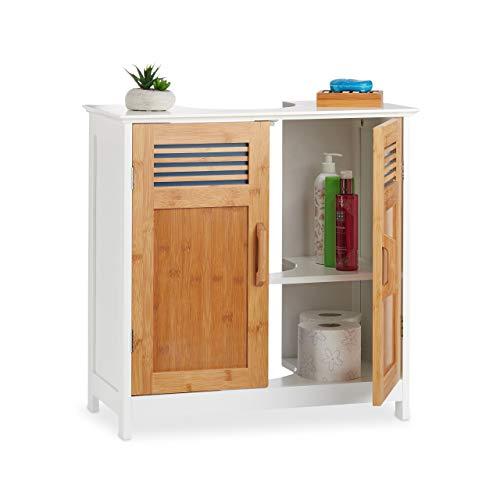 Relaxdays Mueble Lavabo con Balda Regulable, DM-Bambú, Blanco-Marrón, 60 x 60 x 30 cm