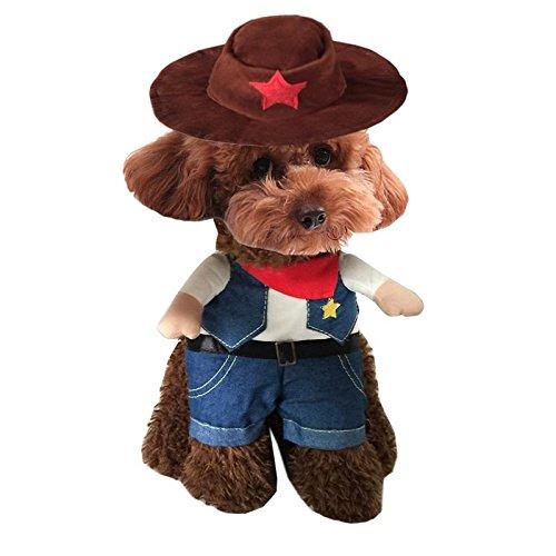 Halloween-Haustier-Hundekleidung Lustige gedrehte Klage Installierte Western-Cowboy und Hut LNAG , (Realistische Kostüme Polizei)