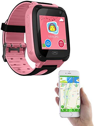Kinder: Kinder-Smartwatch mit Telefon, Kamera, Chat- und SOS-Funktion, rosa (Telefon Uhr) ()