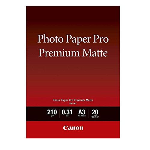 Canon 8657B006 PM-101 Pro Premium Matte A 3, Fotopapier, 20 Blatt, 210 g (Canon 210 Pixma)
