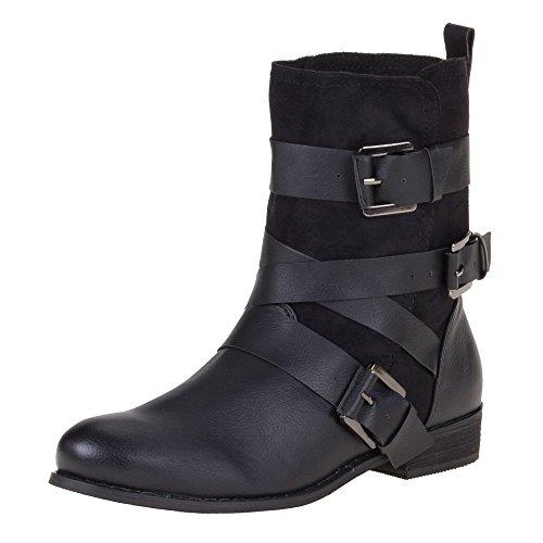 Damen Schuhe, 99717, STIEFELETTEN Schwarz F98
