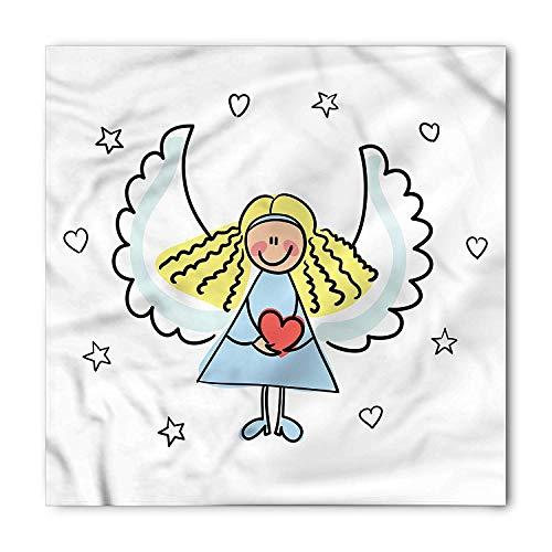 (TKMSH Xmas Square Scarf, Cute Little Girl Red Heart,Bandana Head and Neck Tie Neckerchief Headdress Silk-Like 100% Polyester)