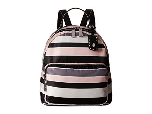 Tommy Hilfiger Women's Julia Dome Backpack Nylon Victory Stripe Black/Pink One Size -
