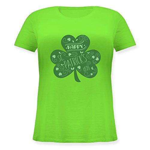 Shirtracer St. Patricks Day - Happy St. Patricks Day Kleeblatt - Lockeres Damen-Shirt in Großen Größen mit Rundhalsausschnitt Hellgrün
