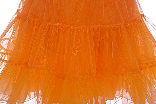 Dresstells 50s Sottogonna Petticoat organza retro vintage mini gonne puffy Rockabilly Arancione
