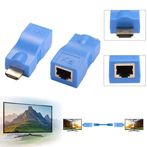 HDMI Extender, 1080 P zu RJ45 Ethernet Netzwerk Signal Extender Sender und Empfänger Adapter über Single CAT6 Kabel 100ft / 30m für HDTV HDPC STB - Netzwerk-kabel-extender