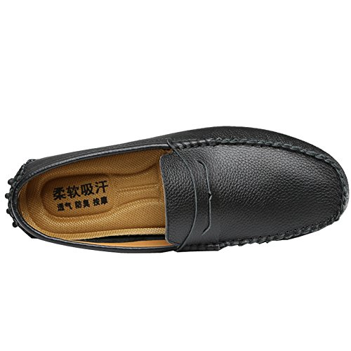 ODEMA de hommes Casual chaussures plats Conduite Mocassin Flâneur à enfiler en cuir Noir - noir