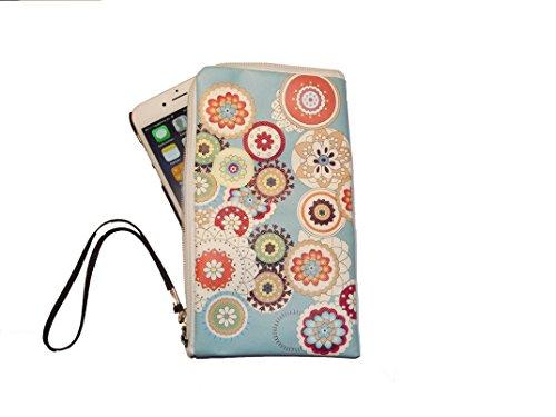 Smart-Planet® hochwertiges SoftCase L Hülle aus Neopren Smartphone Universal Tasche passend für Galaxy A3 2016 2017 / iPhone 7 7s SE 6 6s - Design Frühling