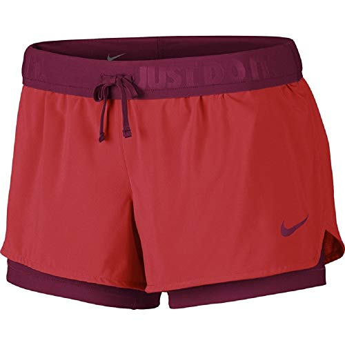 Nike Damen Full Flex 2-in-1Shorts, Schwarz/Volt,  Gr. S