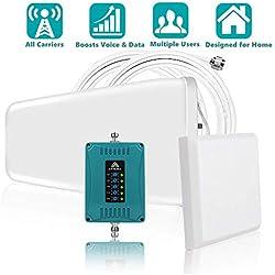 ANYCALL Amplificateurs de Signal 800/900/1800/2100/2600MHz, Répéteur Booster 2G 3G 4G GSM LTE W-CDMA, Boost Voix Data Support Plusieurs Opérateurs Simultanément, Antenne Logarithmique/Murale