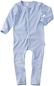 wellyou, Schlafanzug, Pyjama für Jungen und Mädchen, Einteiler langarm, Baby Kinder, hell-blau weiß gestreift,