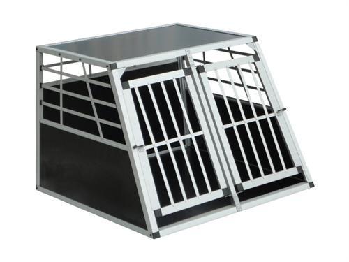 hundeinfo24.de Alu Hunde Transportbox Hundebox Hundetransportbox in Schwarz