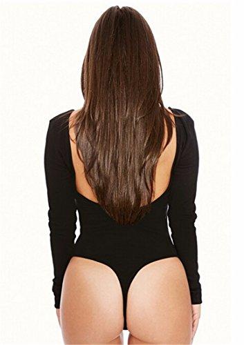 Cou Croop Manches Longues Solides Sexy Cordiers De Fromal Bodysuit Tops Justaucorps Blosues Noir